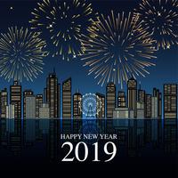 2019年 花火の新年の祝いの風景