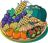 秋の味覚の野菜と果物