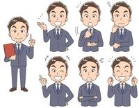 スーツ姿の男性のイラスト(セット・全身)
