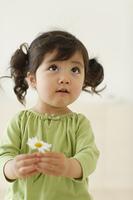 白い花を手に持つ幼い女の子