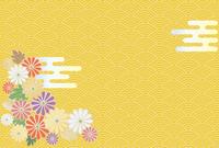菊の花と日本の伝統模様の背景