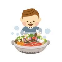 鍋を楽しむ男性