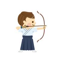 弓道をする男性