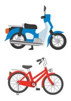スタンドで立ててある原付と自転車