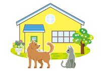 一軒家に犬と猫がいる風景