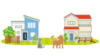 一軒家にそれぞれ犬と猫がいる風景