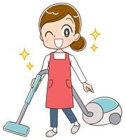 掃除する主婦のイラスト