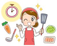 時短料理をする女性のイラスト
