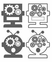 人工知能AIのアイコンセット・ロボット