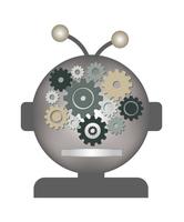 人工知能AIのCGタイプ・ロボットとネジ