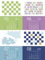2019年5月~8月 和柄のカレンダー 日本向け(祝日表記)