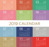2019年シンプルモダンなカレンダー