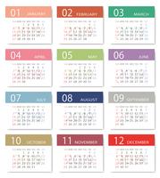 2019年シンプルモダンなカレンダー 日本向け(祝日表記)