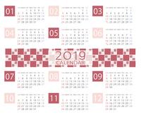 2019年和モダンなカレンダー 日本向け(祝日表記)