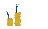 仮想通貨と法定通貨のイメージ