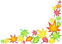 モミジとイチョウの装飾(水彩風)