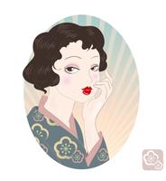 大正ロマン風・レトロファッション女性