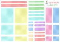 角丸長方形のふきだしセット(ベーシックロング)水彩風着色