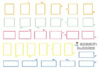 直角のふきだしセット(バラエティーバージョン)手書風線画のみ