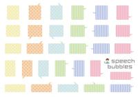 角丸長方形のふきだしセット(バラエティーバージョン)カラフルなドットとストライプ彩度低め