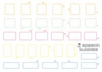 角丸長方形のふきだしセット(バラエティーバージョン)線画のみ
