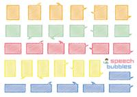 角丸長方形のふきだしセット(バラエティーバージョン)手書風線画落書き風着色