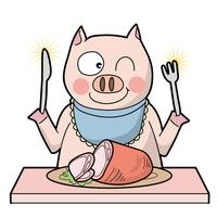 豚が生ハムを食べる・笑顔タイプ