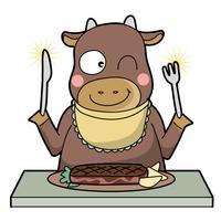 牛がビーフステーキを食べる・笑顔タイプ