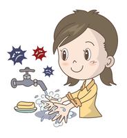 風邪やインフルエンザ予防・手洗い・女性