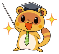 タヌキのマスコットキャラクター 先生風