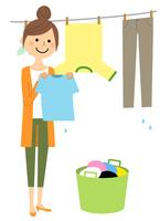 若い女性 ママ 洗濯