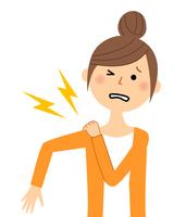若い女性 ママ 肩の痛み