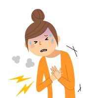 若い女性 ママ 胸の痛み