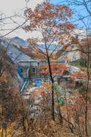 吾妻渓谷見晴台から見た八ッ場ダム工事の風景
