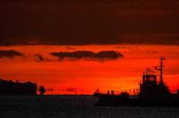 日の出前の朝焼けを横切る船橋