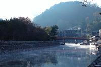 京都 早朝の宇治川の風景
