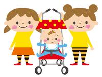 ベビーカーに乗る赤ちゃんと姉妹