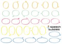 魚眼楕円のふきだしセット(バラエティーバージョン)手書風線画