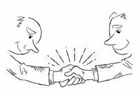 握手するビジネスマン・手書き線画