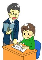 講師と塾生の男の子のイラスト
