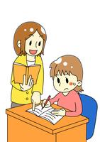 講師と塾生の女の子のイラスト