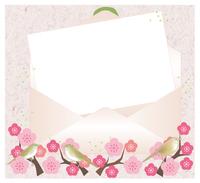 開いた封筒と便箋・梅と鳥