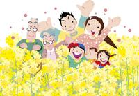 菜の花に囲まれるファミリー