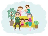 一家団欒なかよし家族、三世代勢揃い
