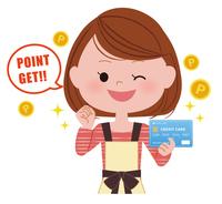 クレジットカードを持った主婦