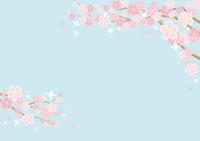 桜のある春の風景のイラスト(背景は空)横長の書式で横書き用