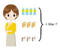 保存食の個数に悩む女性