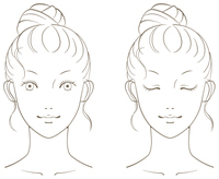 若い女性の美容イメージ モノクロ線画01