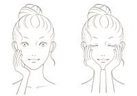 若い女性の美容イメージ モノクロ線画02