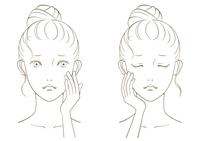 若い女性の美容イメージ モノクロ線画03
